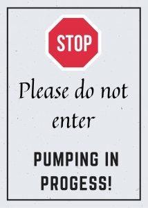 Pumping at work sign