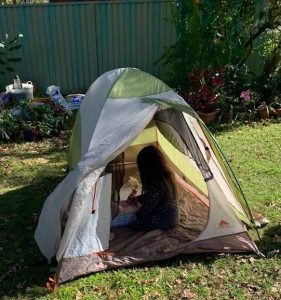 Camping with kids hack- camp in the backyard to give kids confidence